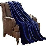 "(Throw, Navy) - Plush Throw Blanket 50"" x 60"", JML Coal Fleece Blanket - Soft Warm, Lightweight, Solid Colour All Season Couch Sofa Blanket (Navy, Throw)"
