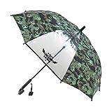 アテイン KIDS用ジャンプ傘 透明窓付 グラスファイバー骨使用 親骨50cm 名札付 ミリタリー 緑 1309