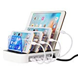 NexGadget 充電スタンド 4つUSBポート 収納充電 iPhone iPod iPad Android スマホ 対応可能 (ホワイト)