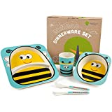 Bamboo Kids Plates and Bowls Sets   Non Toxic & Eco Friendly   5 Pcs Includes Toddler Plates Set   Cute Animal Designs   Kids Dinnerware Sets   Dishwasher Safe (Yellow Bee)