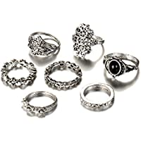 Winter's Secret Vintage Size Fixed Joint Knuckle Nail Rings Sets Ancient Silver Carving Flower for Women