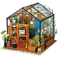 Yamix 3D パズル 木製 ハンドメイド ミニチュア ドールハウス DIYキット ミニ グリーンハウス LEDライト付き 女性や女の子のギフトに最適