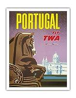ポルトガル - TWA (トランス・ワールド航空)で飛ぶ - ジェロニモス修道院、リスボン - ビンテージな航空会社のポスター によって作成された デイヴィッド・クライン c.1950s - アートポスター - 28cm x 36cm