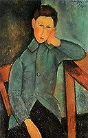 手描き-キャンバスの油絵 - the boy Amedeo Modigliani 芸術 作品 洋画 ウォールアートデコレーション -サイズ04