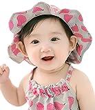 ヘ?ヒ?ー 帽子 男の子 女の子 新生児 赤ちゃん?春 夏 つば付き キッズ 日よけ uvカット 紫外線 防止 対策 100%コットン 幼児用50+ UPF日焼予防帽子、サイズの調整可能 (ローズ)