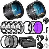 Neewer 58mmレンズとフィルターバンドル:広角レンズ、望遠レンズとフィルターセット(マクロ、ND、UV、CPL、FLD) 58mmレンズ付きのCanon EOS Rebel T7i SL2 T6i T6s T6 T5i T5 T3i 80D 77D 70D 60Dカメラに対応