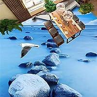 Wuyyii カスタム写真の床の壁紙3Dステレオのリビングルームのバスルームの床の壁画浜の砂川ポリ塩化ビニールの自己接着防水 - 120×100センチ