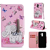 J8 2018 Leather holster,J8 2018 flip case,Luckyandery Book Cover with Card&Cash Slots Kickstand and Magnetic Closure for Samsung Galaxy J8 2018