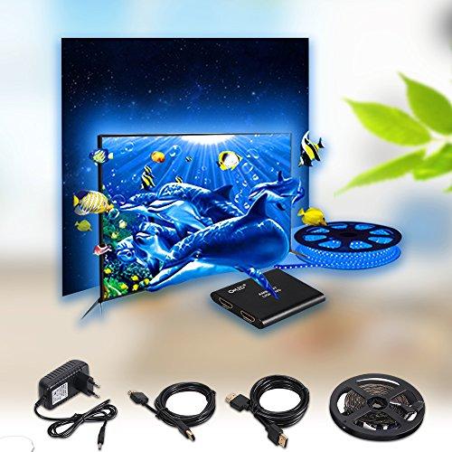 CroLED 5M 150LED RGB LED テープライト パソコン/ テレビバックライト 画面とともに色変更可能 AC100-240V フラットスクリーンテレビLCD ノートブック デスクトップPC ゲーム ライトマルチカラー