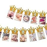 誕生日 バナー クラウン キラキラ 写真クリップ 1歳 12月 誕生日飾り 壁飾り パーテイ飾り ゴールド