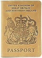 Shvigelレザーパスポートホルダー - 男性&女性用 - イギリスのパスポートカバーケース(ライトイエローヴィンテージ)