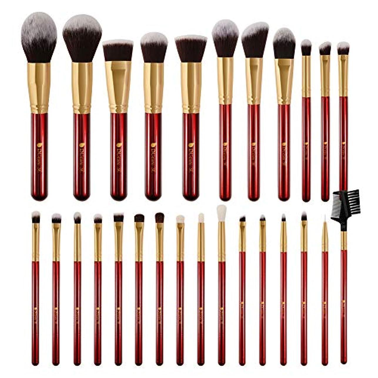 四半期正確つらいDUcare ドゥケア メイクブラシ 27本セット 化粧筆 フェイスブラシ PBT毛&天然毛 (赤) 同シリーズでブラックあり
