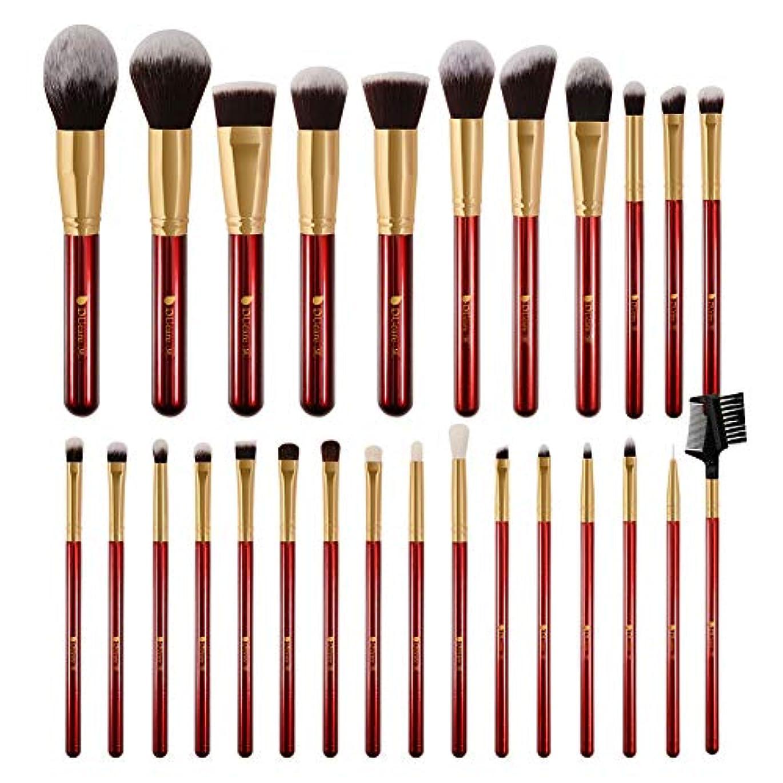 DUcare ドゥケア メイクブラシ 27本セット 化粧筆 フェイスブラシ PBT毛&天然毛 (赤) 同シリーズでブラックあり