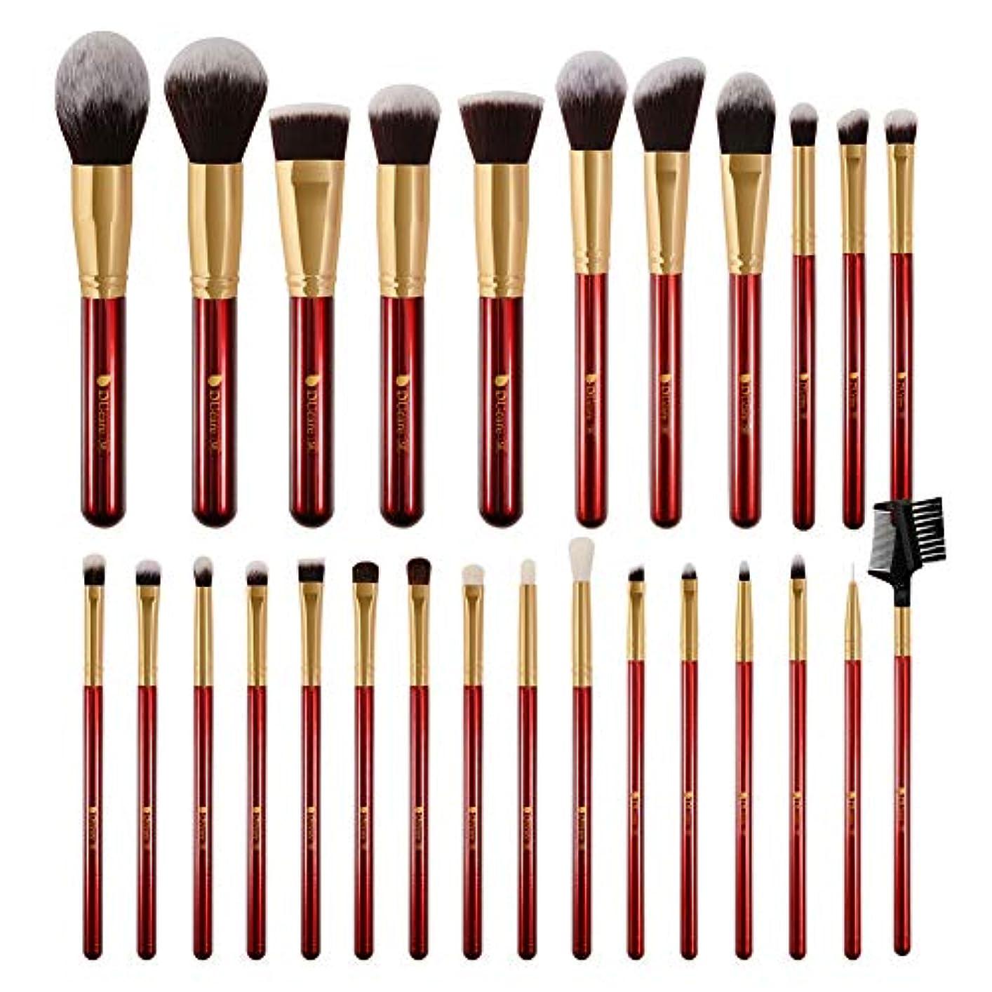 セーター話をするアリーナDUcare ドゥケア メイクブラシ 27本セット 化粧筆 フェイスブラシ PBT毛&天然毛 (赤) 同シリーズでブラックあり