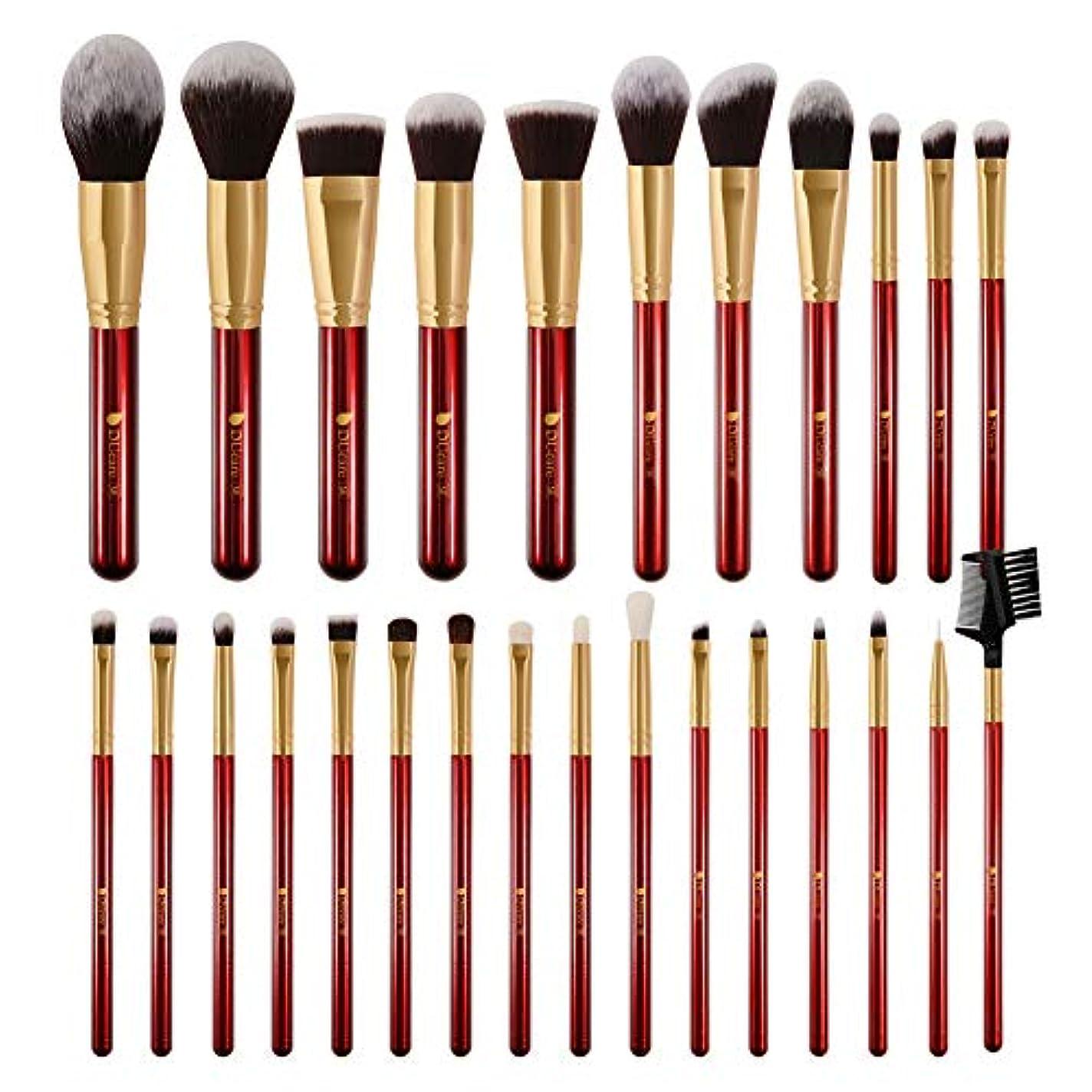 咲くアーサーコナンドイル祖母DUcare ドゥケア メイクブラシ 27本セット 化粧筆 フェイスブラシ PBT毛&天然毛 (赤) 同シリーズでブラックあり