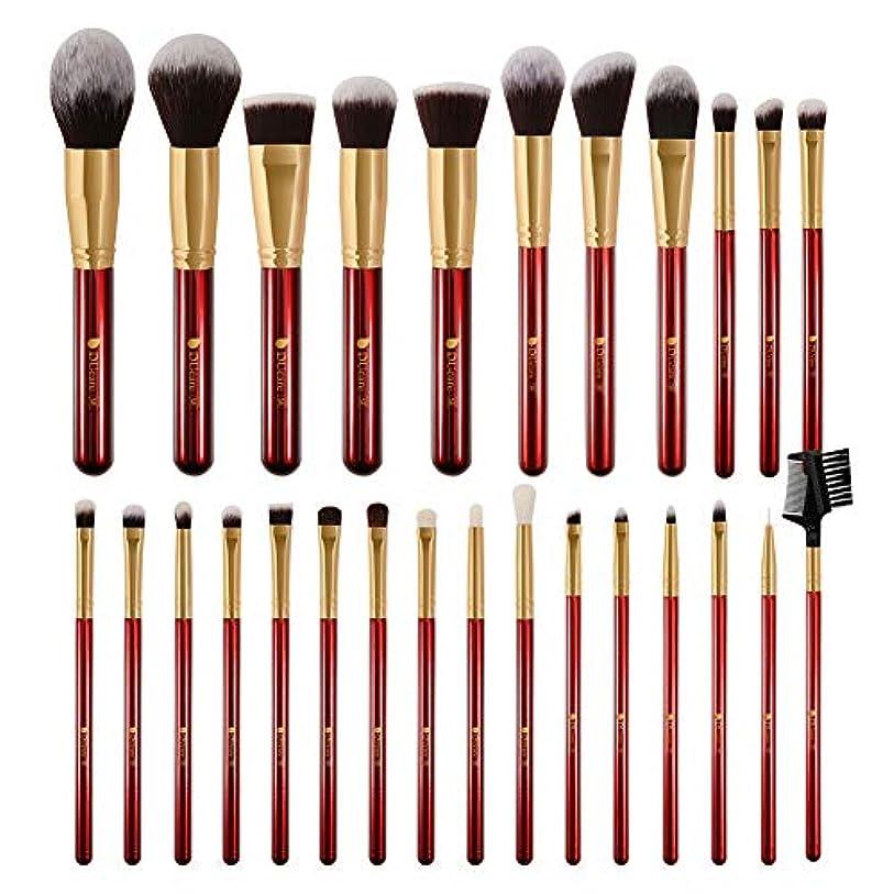 顕微鏡トマトインサートDUcare ドゥケア メイクブラシ 27本セット 化粧筆 フェイスブラシ PBT毛&天然毛 (赤) 同シリーズでブラックあり