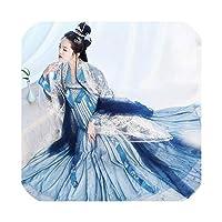 2019 Hanfu女性チャイナドレストップ+スカート+コートスーツコスプレ衣装オペラステージ衣装、バストベルト3Mヘムライン、L