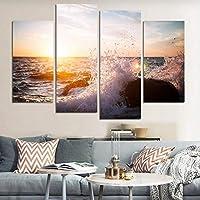 4パネル現代プリント壁アート抽象海景波グループ絵画キャンバス上の壁の装飾-40x80cmx2 40x100cmx2 /なしフレーム