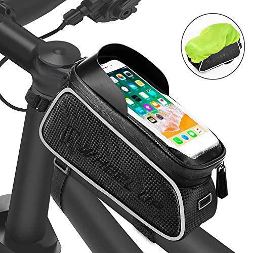 トップチューブバッグ FishOaky フレームバッグ 自転車用フロントバッグ 大容量 軽便 防水 遮光 反射テープ 収納便利 多機能 取り付け簡単 6.5インチスマホ対応