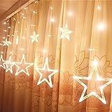 Often LED 星イルミネーションライト 138球 2M Home Led クリスマス、結婚式、学園祭、フェンス、ガーデン、パーティー、室内などに雰囲気付きの飾りライト屋内外装飾用 複数連結可能 コントローラ付き (ウォームホワイト)