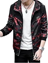 maweisong メンズ長袖迷彩パッチワーク上着のジッパーパーカージャケットカジュアル