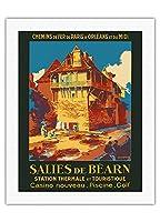 Salies-de-B?arn、フランス - スパ・観光 - SNCFフランスの鉄道 - ビンテージな鉄道旅行のポスター によって作成された ルネ・ルーセル c.1930s - キャンバスアート - 51cm x 66cm キャンバスアート(ロール)