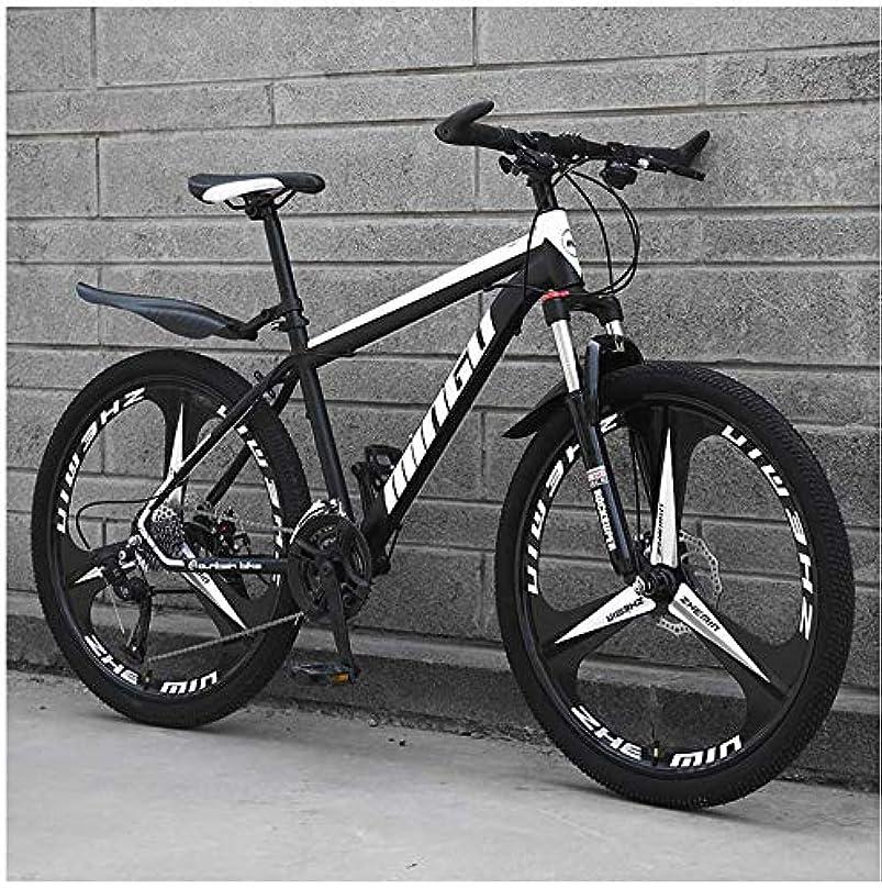 安全でない恥ずかしい大胆不敵24インチメンズマウンテンバイク、高炭素鋼ハードテイルマウンテンバイク、フロントサスペンションアジャスタブルシート付きマウンテン自転車,Black 3 spoke,27 Speed