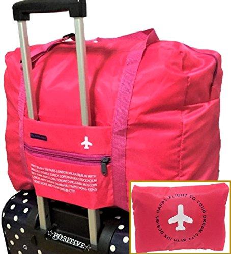 POSITIVE 超便利♪ 手のひらサイズに収納できる 携帯用 ボストンバッグ 旅行バッグ スーツケース の持ち手に通せる 旅行 や 出張 に最適な バッグ 保証書付き (ピンク×ピンク)