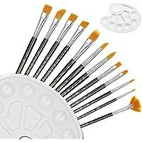 DigHealthペイントブラシ アクリル筆 水彩筆 油彩筆 画筆 デザイン筆 水彩パレット2本付き+12本画筆14本セット