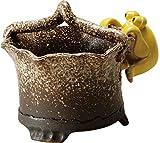 信楽焼 花器 白砂手付花器(蛙は別売りです) 幅19x奥18x高さ18cm 520-03