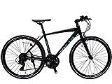 SPEAR(スペア)クロスバイク 700c アルミフレーム シマノ製 21段変速 SPCA-7021 ディレーラー Tourney(ターニー)1年保証付 適用身長160㎝以上 (マットブラック)