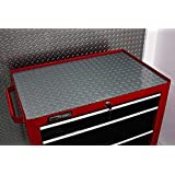 Resilia Premium Tool Box Drawer Liner - Silver Diamond Plate, 18 Inches x 72 Inches, Anti-Slip, Heavy Duty, Made in the USA