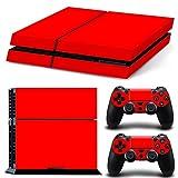 [人気新作] プレイステーション4対応 PS4スキンシール ステッカー 本体用 プレステ4専用 コントローラー用×2枚 ハンドル skin 何度も貼り直しが可能 シンプル 無地 純色 赤 レッド