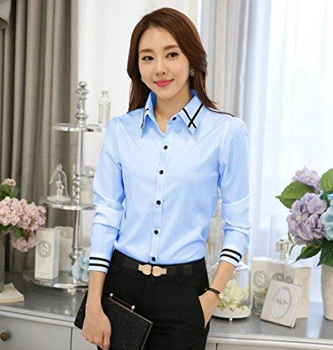 (インポートストアMK) レディース シャツ ブラウス 長袖 トップス 大きいサイズ ワイシャツ オフィス フォーマル (青 ブルー L)