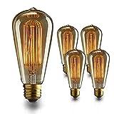 エジソン電球 60W 110V ST64電球調光可能 E26/ E27口金 ヴィンテージエジソンランプ タングステンフィラメント電球クリア アンティーク風 調光器対応 ホーム照明 装飾用器具 4個入