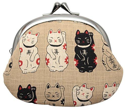 がま口財布 和柄財布 男物3.3寸がま口 招き猫ベージュ