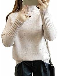 MengFan レディース セーター 冬 パーカー 無地 タートルネック 長袖 暖かい トップス ゆったり シンプル ニット カットソー 韓国風 ファッション 防寒服