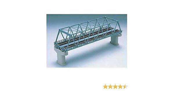 N scale Green Tomix 3052 Double Track Truss Bridge Set w// 2 Concrete Piers