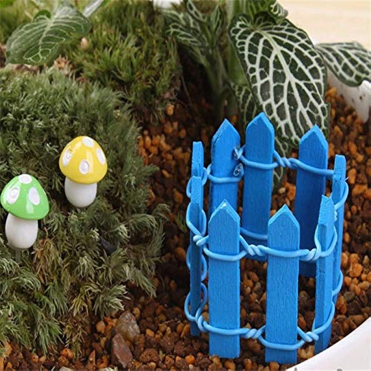 減少違法デイジーJicorzo - 20個DIY木製の小さなフェンスモステラリウム植木鉢工芸ミニおもちゃフェアリーガーデンミニチュア[ディープブルー]