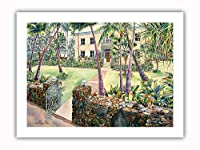 Hulihee 宮殿 - ハワイのロイヤリティの休暇の家 - カイルア/コナ - オリジナルハワイ水彩画から によって作成された ペギー チュン - プレミアム290gsmジークレーアートプリント - 30.5cm x 41cm