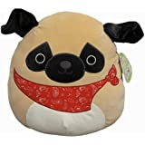 Squishmallows Official Kellytoy Prince The 16 Inch Pug with Red Bandana Dog Squishy Soft Plush Toy