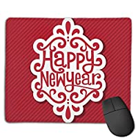 Cheng xiao Mouse Pad Happy New Year Graphics Rectangle Rubber Mousepad Non-toxic Print Gaming Mouse Pad with Black Lock Edge,9.8 * 11.8 in,ベーシック マウスパッド ゲーム用 標準サイズ
