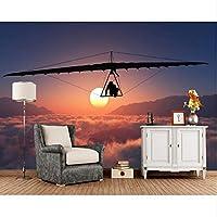 Xbwy ハンググライダー飛行雲サンスポーツ3Dの壁紙、リビングルームの寝室のテレビの背景の壁紙家の装飾壁画-120X100Cm