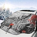 車のフロントガラスの日よけ油絵市赤い木サンバイザー、フロントガラスのサンバイザ ー、UVフロントガラスのサンバイザー(147 x 118 cm)