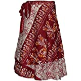 Womens Vintage Wrap Skirt Premium Silk Sari Reversible Two Layer Cruise Dress Cover Up