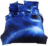 (コズミックツリー) COSMIC TREE 宇宙に包まれて眠る 惑星 宇宙 ベット シーツ 布団カバー 枕カバー セット 選べる シングル ダブル 宇宙 コスモ 宇宙スペース 雑貨 高品質プリント (シングルセット, シャイニングブルー)