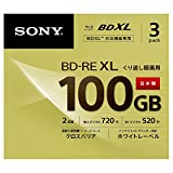 SONY ビデオ用ブルーレイディスク (3枚パック) 日本製 3BNE3VCPS2(BD-RE 3層:2倍速 3枚パック)