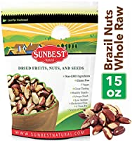 SUNBEST Whole, Raw, Shelled Brazil Nuts in Resealable Bag 15 Ounce