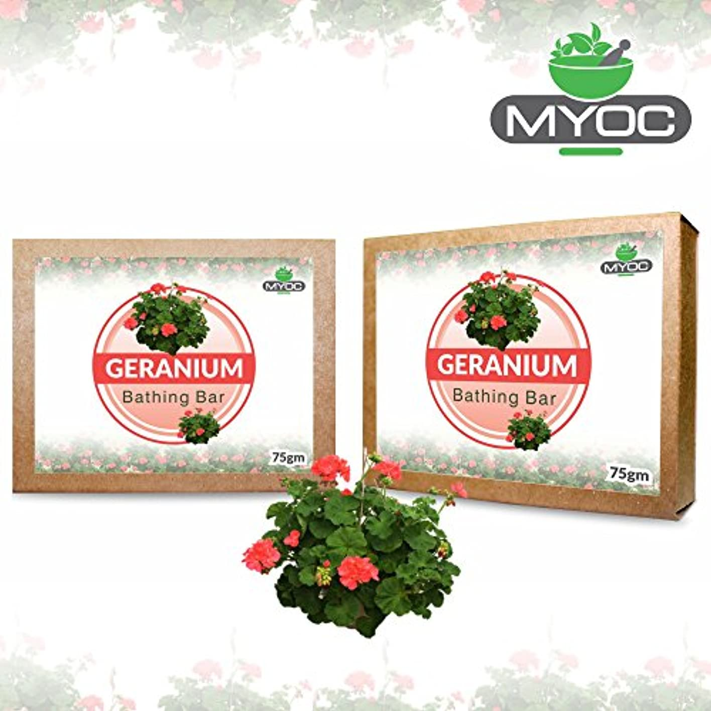 干ばつ組み合わせ気味の悪いGeranium Oil soap an excellent moisturizer for mature, dry skin 75gm. X 2 Pack