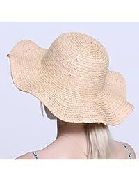 HONEY 女性の麦わら帽子 手織り   大波   折り畳み式 ソリッドカラー